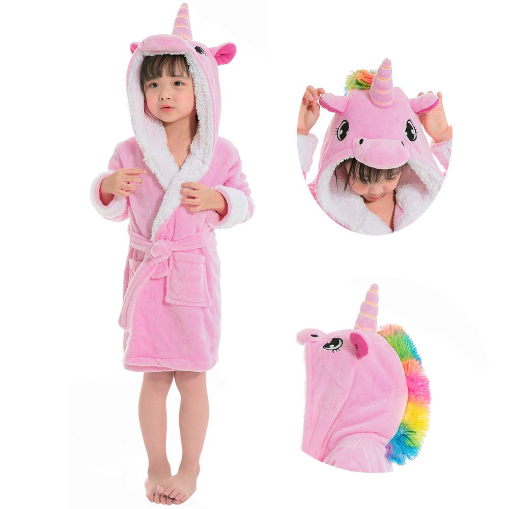 Etitek Kids Unicorn Bathrobe Sleepwear Pajama Soft Fleece Unisex Hooded Push Robe