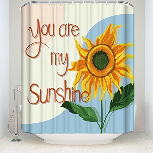Shower Curtain Sunflower Print Quote You Are My Sunshine Extra Long Waterproof Polyester Fabric Flowers Bathroom Decor With Hooks Set 60x72IN