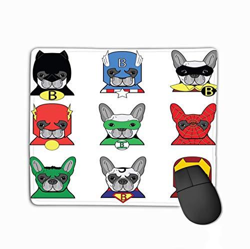 Mouse Pad French Bulldog Dog Superheros Such as Superman Batman Robin Ironman Spiderman Green Lantern Captain America Flash Hulk Rectangle Rubber Mousepad 11.81 X 9.84 Inch -