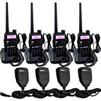 Retevis RT-5R 5W 128CH UHF/VHF 400-520MHz/136-174MHz FRS/GMRS DTMF/CTCSS/DCS Walkie Talkies(4 Pack) and Speaker Mic (4 Pack)