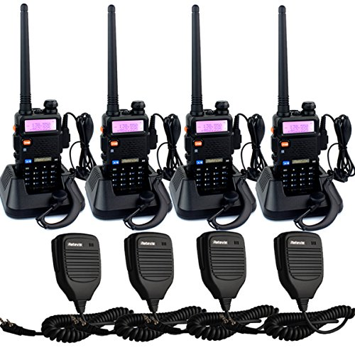 Retevis RT-5R Walkie Talkies 5W 128CH UHF/VHF 400-520MHz/136-174MHz Two Way Radio(4 Pack) with Speaker Mic(4 (5 Speed Transmission Tool)