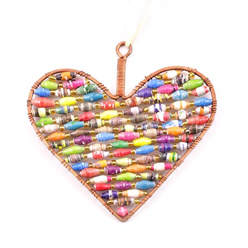 Recycled Paper Bead Heart Ornament (Multicolor) - Fair Trade and Handmade