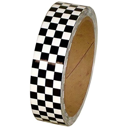 Laminated Checkerboard Outdoor Vinyl Tape 1 inch x 18 yards (White / Black (Pack of 1))