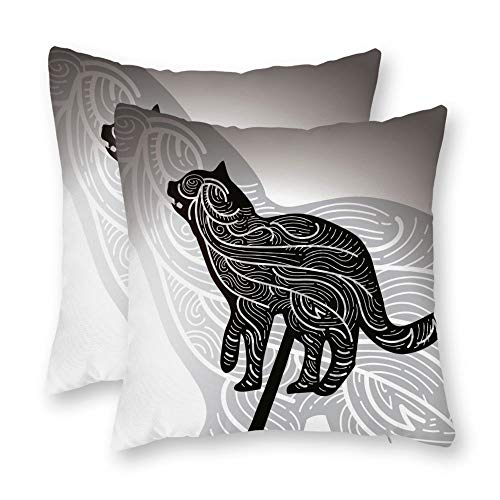 (DKISEE Animal Decorative Throw Pillow Case Cushion Cover Free Cat Shadow Puppet Illustration Pillowcase Sofa Square Pillow Cases Set of 2)