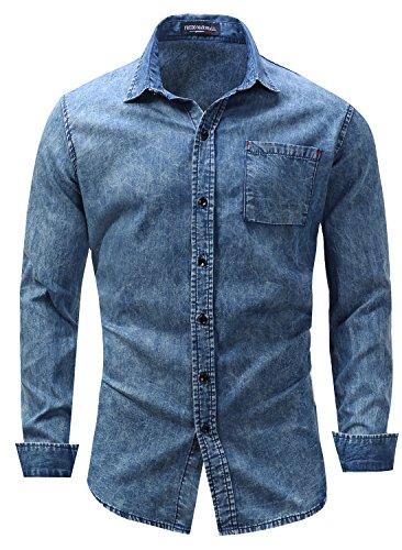 Snap Close Western Shirt (OKilr Pjik Men's Blue Casual Long Sleeve Button Down Western Denim Dress Shirt with Pocket L)