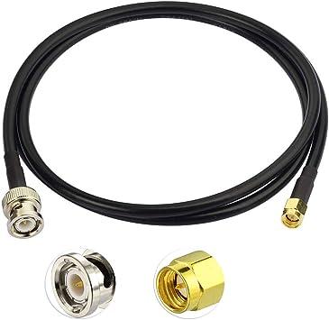 Eightwood Cable de CB Radio SMA Cable SMA Macho a BNC Cable Flexible Macho Cable de extensión de Antena CB RG58 100 cm para Antena SMA 4G PC LAN TYT ...