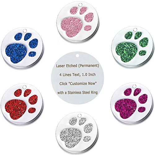 "51PIoQd9UNL - Vcalabashor Pet ID Tags for Small & Medium Dogs & Cats/Round Tags with Sparkly Paw Print/Bling Engraved Personalized Animal Tag/Pink / Blue/Green/ Red/ 1.0""x1.0"""