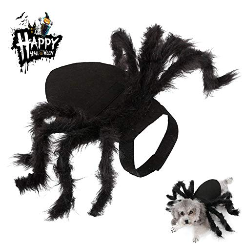 Black Pug Spider Costume (Allhave Halloween Spider Pet Costume, Halloween Cosplay Costumes for Dog, Cats Dress Party Dress Up Horror Simulation Plush Spider Costumes)