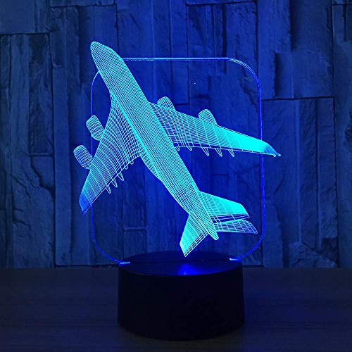 OVIIVO Creative Table Lamp Desk Lamp 3D Aircraft Warplane Model Creative Night Light Touch Jet Plane Desk Lamp Led Illusion Lamp Bedside Lamp Cool Toy Using for Reading, Working by OVIIVO (Image #7)
