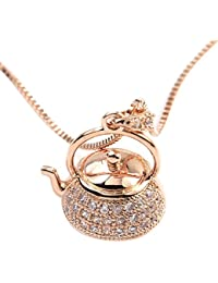 Rose & Rhodium Plated CZ Crystal Teapot Charm Pendant Necklace