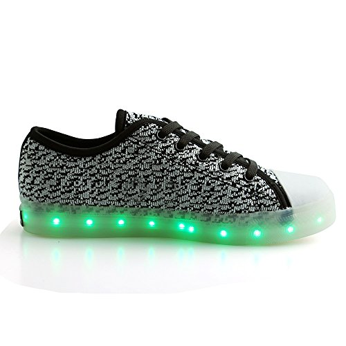 Peak Idea Frames Kinder Heren Dames Led Usb Laadschoenen Flyknit Lage Top Sneakers Wit / Zwart