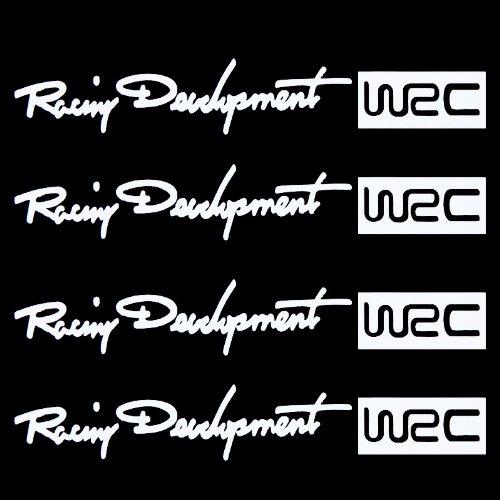 Kingzer 4pcs WRC Car Door Handle Decal sticker Knob paster tags emblem Reflective White