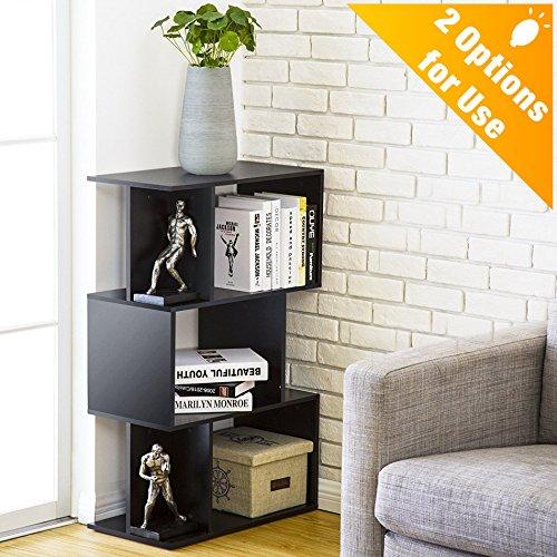 Bookcase Media Cubbies - Homury Modern Wood Bookcase Storage Shelving Stand Bookshelf MultiMedia Storage Cabinet Organizer Black