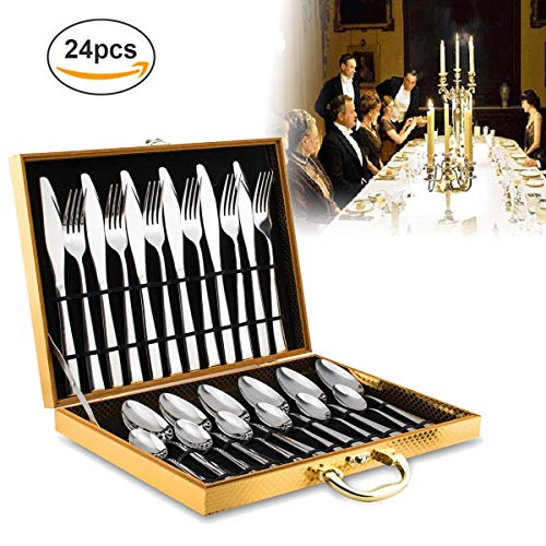 24 Piece Silverware Set,Flatware Set for 6,Stainless Steel Cutlery with Round Edge Include Knife/Fork/Spoon/Teaspoon,Mirror Polished,Dishwasher Safe,for Housewarming Gift