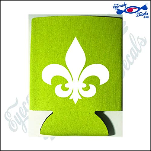 Eyecandy Decals Fleur DE LIS White on a Yellow Pocket FOLD CAN Cooler