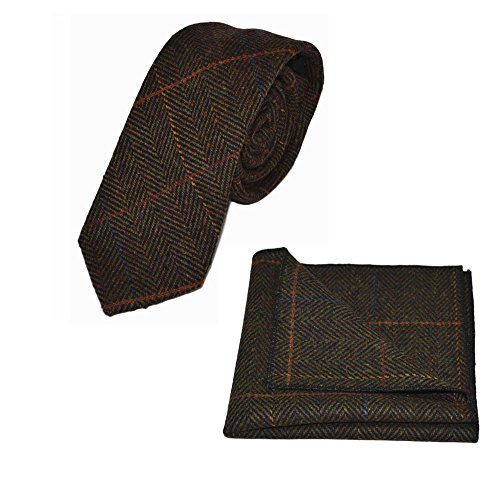 Luxury Dark Olive Green Herringbone Check Necktie & Pocket Square Set, (Luxury Herringbone Necktie)