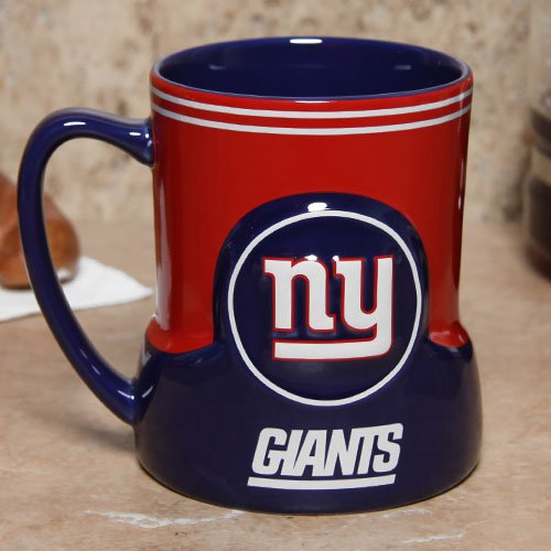 New York Giants 18 Ounce Game Time Sculpted Logo Relief Coffee Mug
