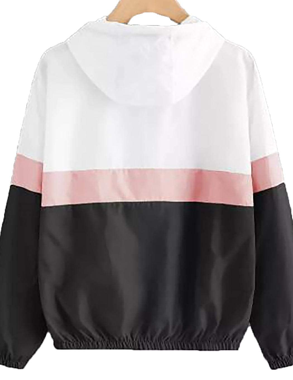 loukou Women Fashion Thin Jacket Color Stitching Long Sleeve Zipper Hooded Jacket Casual Jackets