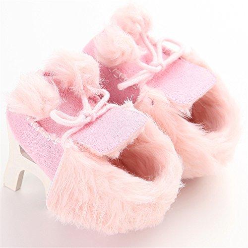 Estamico cálido peluche bebé botas de invierno caqui Talla:3-6 meses rosa
