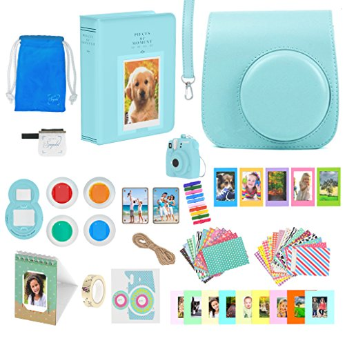 Fujifilm Instax Mini 9 Accessories Bundle - 16 Piece Kit Includes: Ice Blue Protective Case + Strap, 2 Photo Albums, Keychain, Emoji Stickers, Hanging Frames, Selfie Lens, Magnets, Gift Box by snapskit