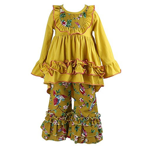 Wennikids Girls Clothes Outfit Kids Ruffle Shirts Dress Boutique Bell Pants Set Small Mustard