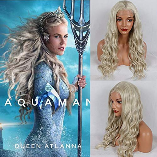 (Party Queen Aquaman Atlanna Hair Wigs Platinum Blonde Wigs with Baby Hair Aquaman Cosplay Synthetic Hair Lace Front Wigs with Pre Plucked Hairline Long Water Wave)