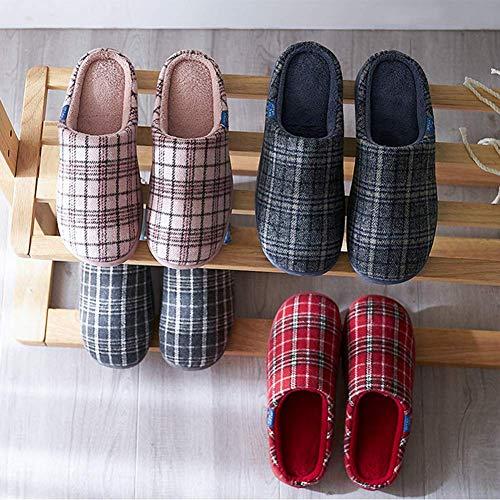 Chaussons De Air Chaussures Coton SFHK Unisexe Plein Antidérapant Confortable Hiver Intérieur Molleton Tongues Red xZqAw6q