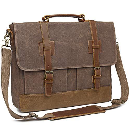 Price comparison product image Messenger Bag for Men 15.6 inch Waterproof Waxed Canvas Genuine Leather Briefcase Computer Laptop Bag Large Retro Satchel Shoulder Bag Brown