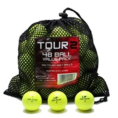 Color Various Brands Recycled Golf Balls in Mesh Bag (Yellow 48 Pack) by Golfball Planet
