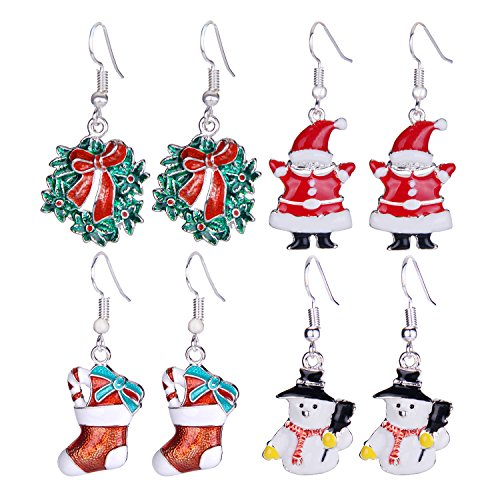 Zhenhui Set of 4 Pairs Silver Tone Christmas Dangle Earrings Set for Women Girls with Red Wreath Santa Claus Stockings White Snowman Xmas Thanksgiving Themed (Holiday Themed Costume Jewelry)