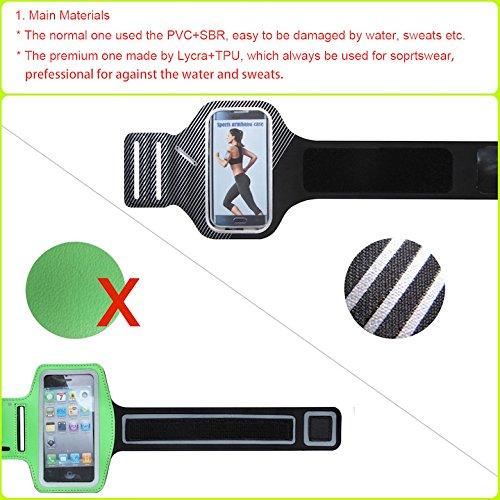 meres Deportes Correr Brazalete Soporte de Funda para iPhone 6 6S (4.7 pulgadas) fabricado en Premium Licra, capa de sudor, tiras reflectantes y llave ranura-verde negro