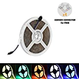 iRofa LED Flexible 5 Meter Strip Light 300 leds 5050 SMD RGB Color Changing waterproof 16.4FT LED strip light LED Ribbon with 4 sets Right Angle corner connector LED Light Strip Flexible Rope lighting