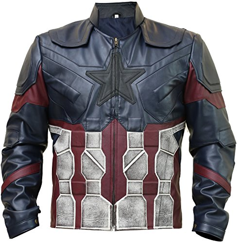 Avengers Infinity War Jacket Costume - Star Lord | Captain America | Deadpool | Ironman | Black Panther (Blue - Captain America Avengers Infinity War Leather Jacket, X-Large/Body Chest 44