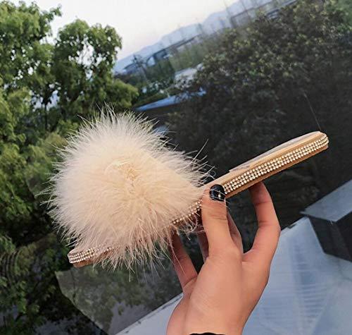 DANDANJIE Exterior Zapatillas otoño Diamantes Zapatillas de Beige de Felpa de Zapatillas Mujer de de de casa de imitación de Moda rxrz7X4