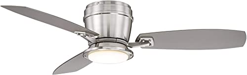 52 Playa Del Ray Modern Hugger Low Profile Outdoor Ceiling Fan with Light LED Dimmable Remote Control Brushed Nickel Wet Rated for Patio Porch – Casa Vieja