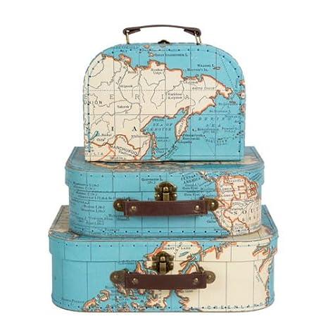 Conjunto de 3 decorativo marroquí Estilo Vintage Mini Maletas Cajas de almacenamiento: Amazon.es: Hogar