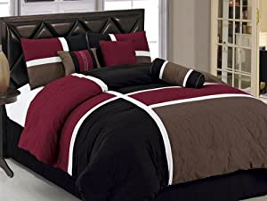 Chezmoi Collection 7-Piece Quilted Patchwork Comforter Set, Burgundy/Brown/Black, King