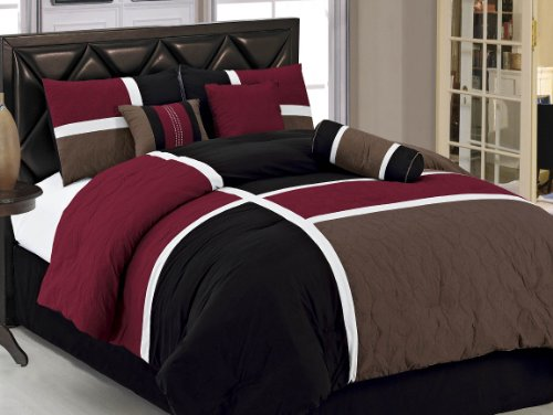 7-pieces Burgundy Brown Black Quilted Patchwork Comforter