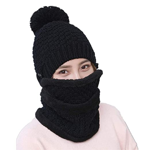 Image Unavailable. Image not available for. Color  Fmeijia Three-Piece Winter  Ladies Wool Hat Velvet Warm Knit Hat Cap Outdoor Bib Mask d518edf7ffcf