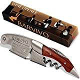 Professional Waiters Corkscrew by Barvivo - This Bottle Opener for Wine and Beer Bottles is Used by Waiters, Sommelier and Bartenders Around the World. Made of Rosewood and Thick Stainless Steel.
