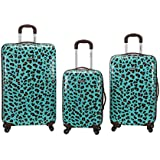 Rockland Luggage 3 Piece Snow Leopard Polycarbonate Upright Set