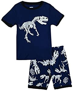 Boys Pajamas Dinosaur Little Kid Shorts Set 100% Cotton Sleepwear Toddler Pjs