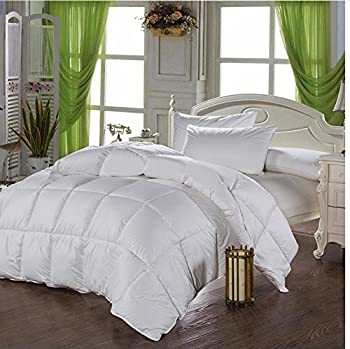 HARD-TO-FIND California King Size, White Comforter Duvet Insert, Exclusive Siliconized Fiberfill, 1000 Thread Count 100% EGYPTIAN COTTON Down Alternative Comforter