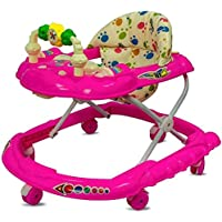 Goyal's Cartoon Baby Walker - Music & Rattles with Adjustable Height (Pink)