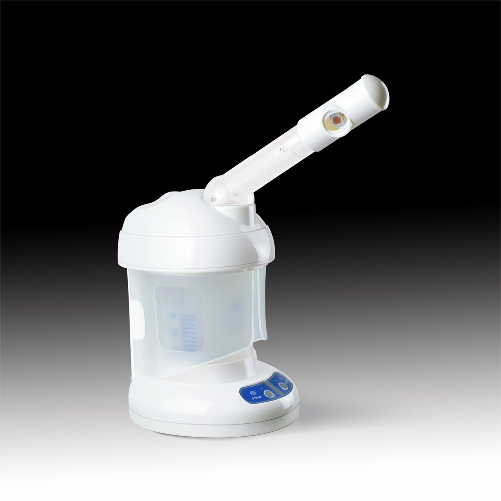 Professional Facial Steamer Machine, Portable Mini Desktop Steamer Home-Skin, Table Top Stand, Hot Mist Ozone(White)