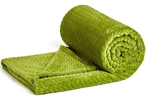 (NEWCOSPLAY Luxury Super Soft Throw Blanket Premium Silky Flannel Fleece Leaves Pattern Throw Warm Lightweight Blanket (888-green, Twin(60