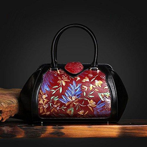 Vera Donna Vintage Pelle Lussuosa Dipinta Spalla Estate Classico Di Elegante Leathario Borsa Rosso Mano Da FaE1Fwgq