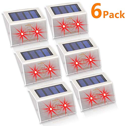 YINGHAO Solar Powered RED LED Predator Deterrent Light/Wild Animals Repellent and Control/Guards Against Nocturnal Wild Animals/Farm Garden Pasture Orchard Corral Chicken Coop Light/ 6Pack