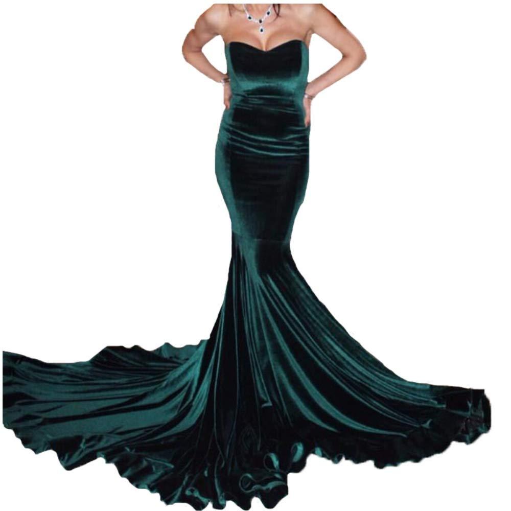 Dark Green Liaoye Long Mermaid Prom Dresses Dark Green Velvet Evening Gowns for Women Formal Party Dresses