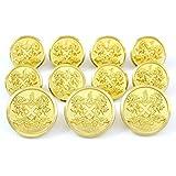 Premium WATERBURY ~GOLD DRAGONS CREST~ METAL BLAZER BUTTON SET ~ 11-Piece Set of Shank Style Fashion Buttons For Single Breasted Blazers, Sport Coats, Jackets & Uniforms ~ METALBLAZERBUTTONS.COM